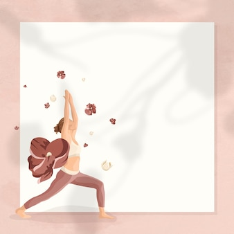 Floral yoga pose frame vector met vrouw die krijger 1 pose beoefent
