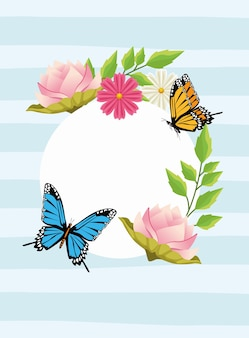 Florale achtergrond in circulaire frame met bloemen en vlinders.