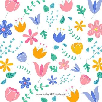 Florale achtergrond in vlakke stijl