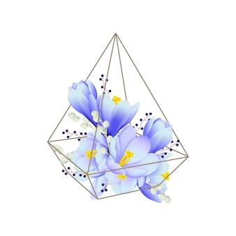 Florale achtergrond met crocus bloemen in terrarium