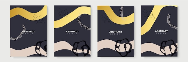 Florale achtergrond met gouden decoratie set. abstracte creatieve achtergronden in minimale trendy stijl met kopieerruimte voor wenskaarten of omslagpresentatieontwerpsjablonen. sjabloon voor spandoek voor sociale media