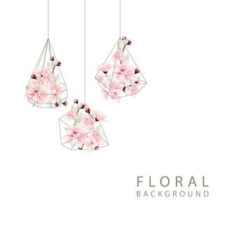 Florale achtergrond met kersenbloesems in terrarium