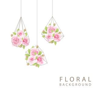 Florale achtergrond met roze rozen in terrarium
