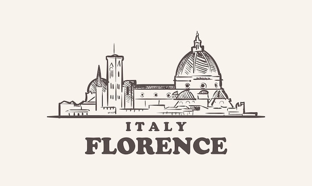 Florence stadsgezicht schets hand getekend italië illustratie Premium Vector
