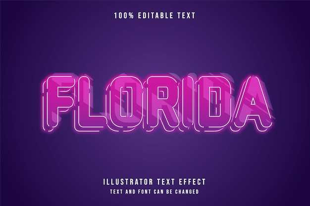 Florida, 3d bewerkbare teksteffect roze gradatie paarse neon lagen stijl