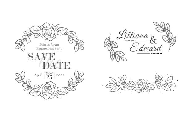 Florious bruiloftselementen voor uitnodigingskaartontwerpen