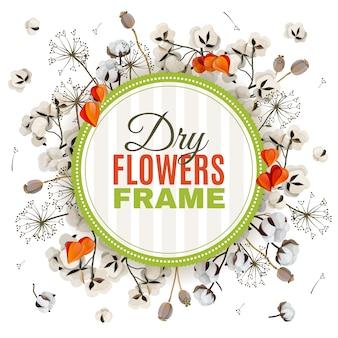 Floristische achtergrond met droge bloemen frame