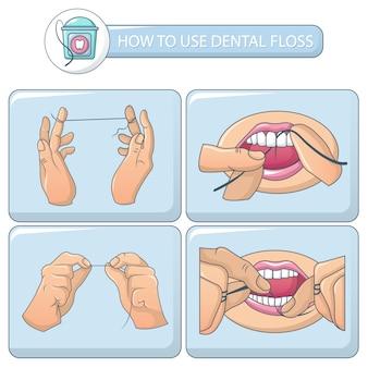 Floss tandheelkundige banner concept set