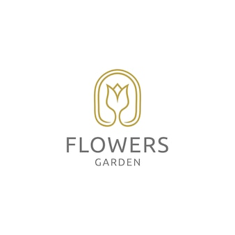 Flower garden logo design vector