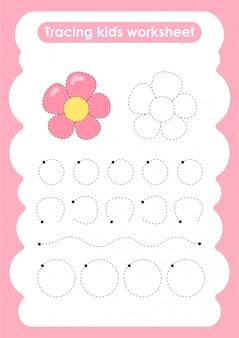 Flower - trace lijnen schrijven en tekenen oefenblad voor kinderen