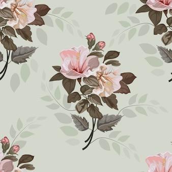 Flowerfwijnoogst met illustratie van het hibiscus de naadloze patroon
