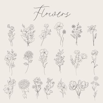 Flowers set collection Premium Vector