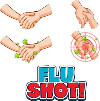 Flu shot-lettertype in cartoonstijl met handen die geïsoleerd bij elkaar houden