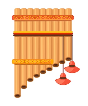 Fluitpan met traditioneel indianenpatroon. amerikaans muziekinstrument. illustratie op witte achtergrond