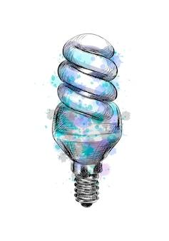 Fluorescerende energiebesparende gloeilamp uit een scheutje aquarel, handgetekende schets. vector illustratie van verven