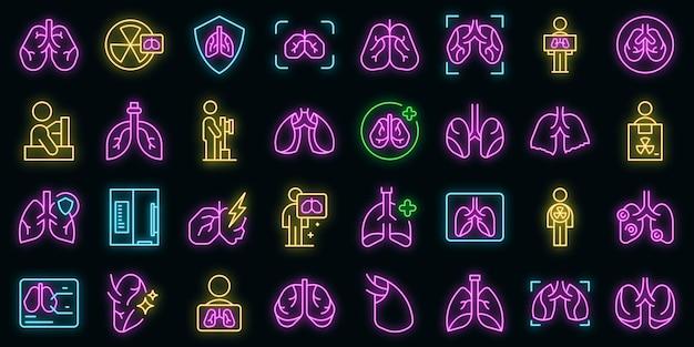 Fluorografie pictogrammen instellen vector neon