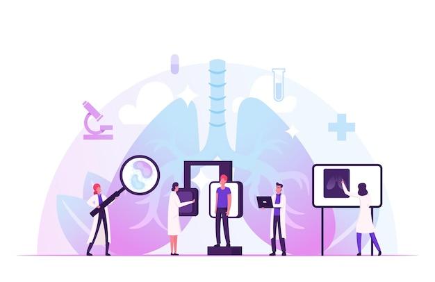 Fluorografisch onderzoek op de afdeling pulmonologie in de kliniek. longen x-ray medische diagnostiek checkup. cartoon vlakke afbeelding