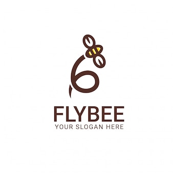 Fly bee logo sjabloon