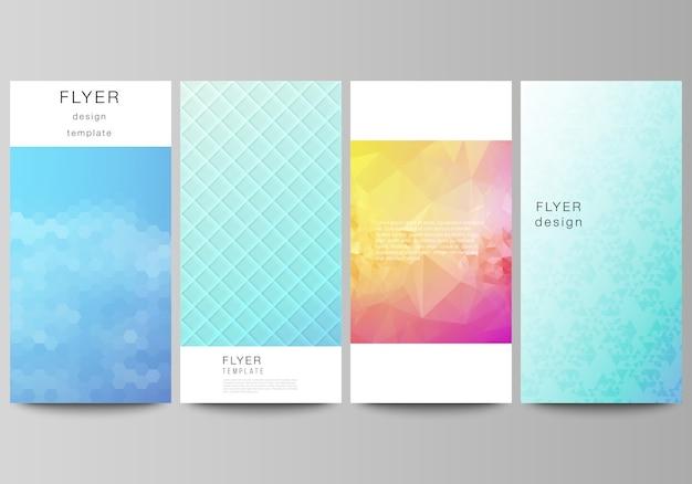 Flyer, banner ontwerpsjablonen. abstract geometrisch patroon met kleurrijk gradiënt