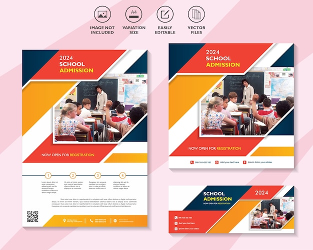 Flyer banner sociale media post sjabloon voor toelating tot school