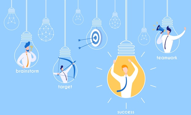 Flyer brainstormen voor doelgericht succesvol teamwork