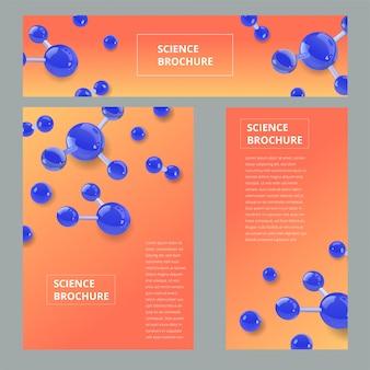 Flyer, brochure formaat a4 sjabloon, banner instellen. moleculaire structuur met realistische glazen bollen.