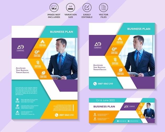 Flyer brochure sociale media sjabloon en banner voor het bedrijfsleven