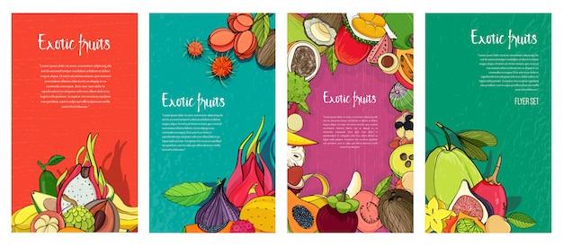 Flyer collectie met exotische tropische vruchten. verticale achtergronden met plaats voor tekst.