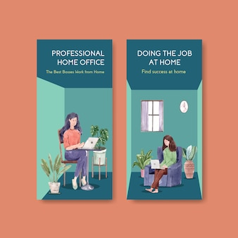 Flyer en brochure sjabloonontwerp met mensen werken vanuit huis. kantoor aan huis concept aquarel vectorillustratie