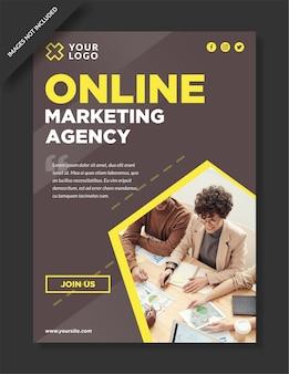 Flyer en social media-sjabloon voor online marketingbureau