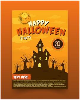 Flyer halloween party uitnodiging illustratie griezelig huis