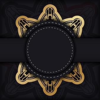 Flyer in zwart met luxe gouden ornamenten voor uw merk.