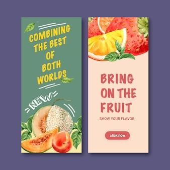 Flyer met meloen, creatieve kleurrijke illustratie sjabloon.