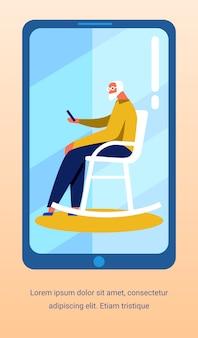 Flyer met old man talking video op mobiel scherm
