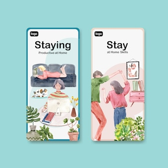 Flyer of brochureontwerp thuis blijven concept met mensen karakter dansen en zoeken naar internet aquarel illustratie