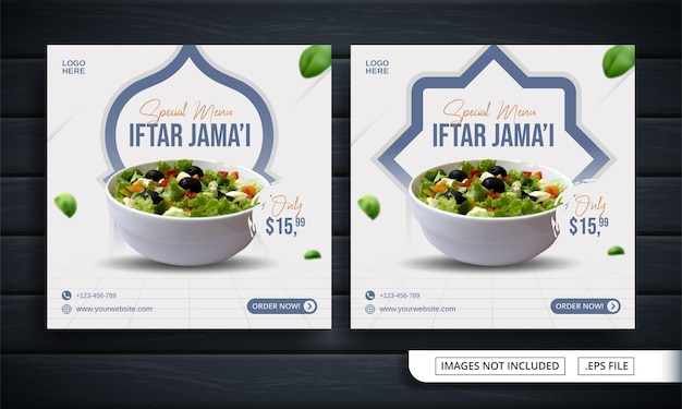 Flyer of social media banner voor ramadan iftar post