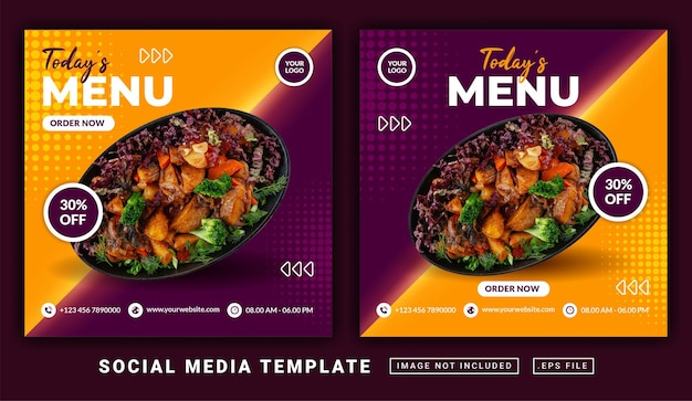 Flyer of social media post-thema van de menusjabloon van vandaag