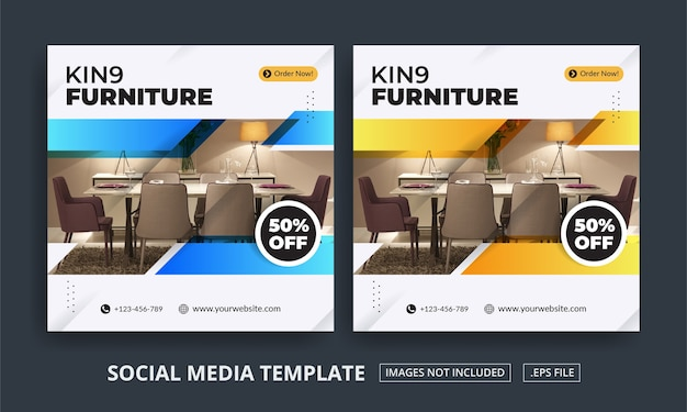 Flyer of social media post themed furniture
