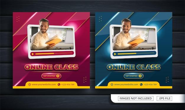 Flyer of social media post themed online class
