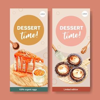Flyer ontwerp met crêpe cake, cupcake aquarel illustratie.