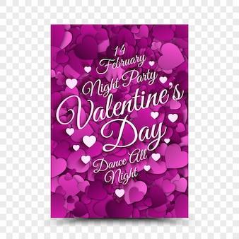 Flyer retro ontwerpsjabloon valentijnsdag nacht partij op transparante achtergrond