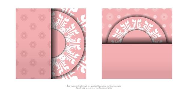 Flyer roze met mandala wit ornament voor uw merk.