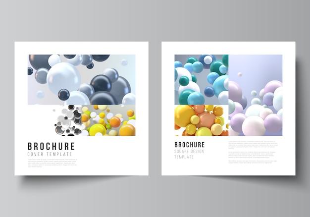 Flyer set met veelkleurige 3d-bollen, bubbels, ballen.