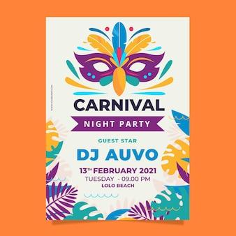 Flyer sjabloon braziliaans carnaval plat ontwerp