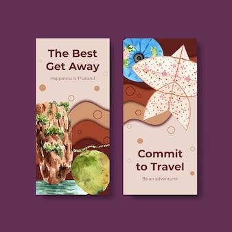 Flyer-sjabloon ingesteld met reizen naar thailand voor brochure in aquarel stijl