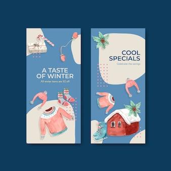 Flyer-sjabloon ingesteld met winteruitverkoop voor brochure in aquarel stijl