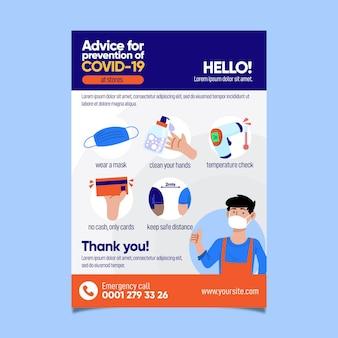 Flyer-sjabloon met advies voor covid-19-preventie