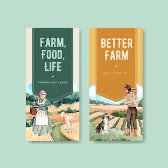 Flyer sjabloon met boerderij biologische conceptontwerp aquarel illustratie.