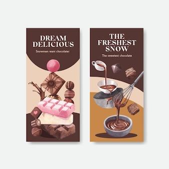 Flyer sjabloon met chocolade winter conceptontwerp voor brochure en folder aquarel vectorillustratie