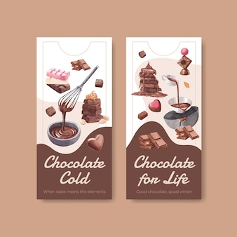Flyer sjabloon met chocolade winter conceptontwerp voor brochure en folder aquarel vectorillustratie